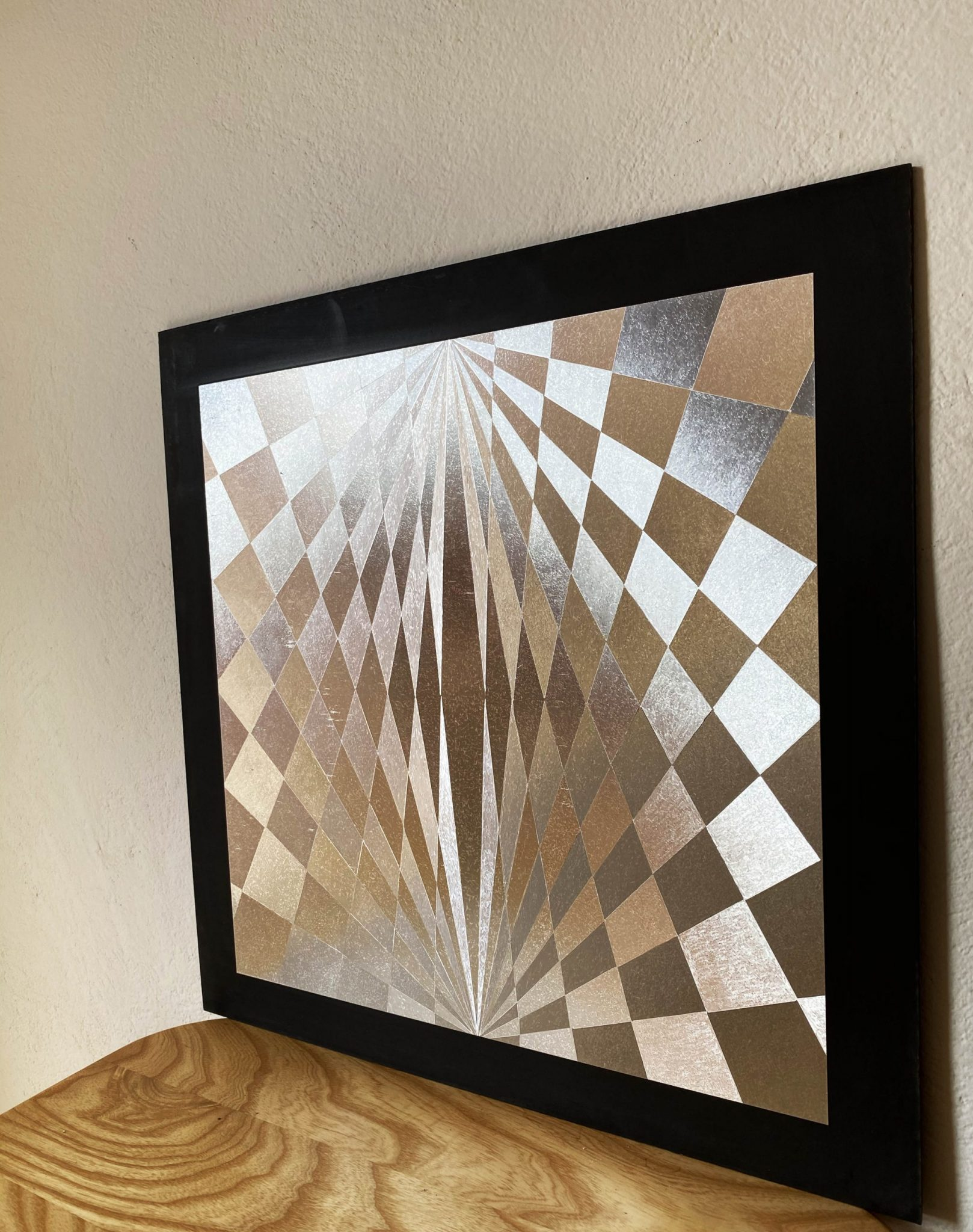 abstract-check-silver-40-x-40-gravure-foil-art-etching-left-