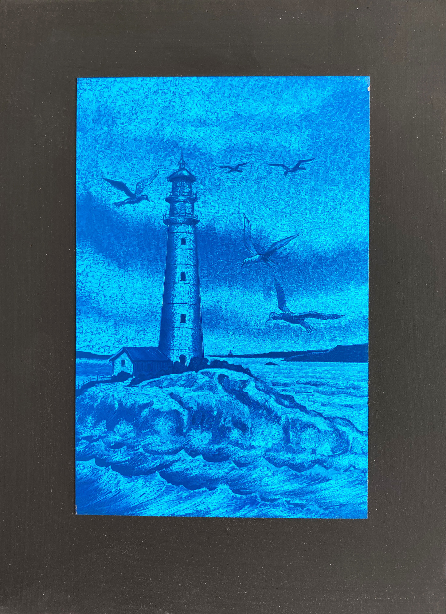 lighthouse-blue-gravure-etching-on-aluminium