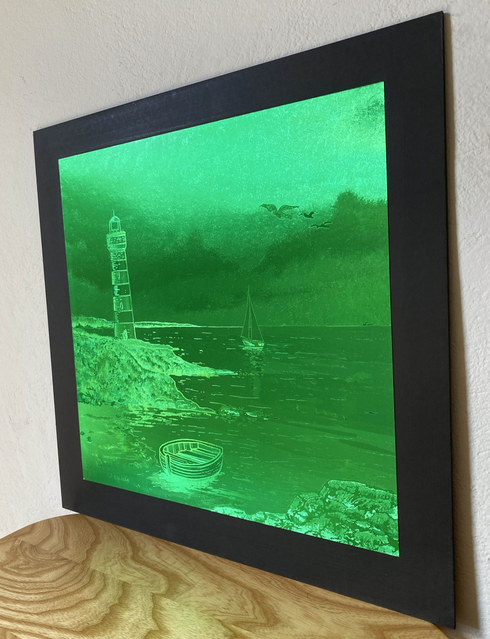 lighthouse-green-40-x-40-gravure-foil-art-etching