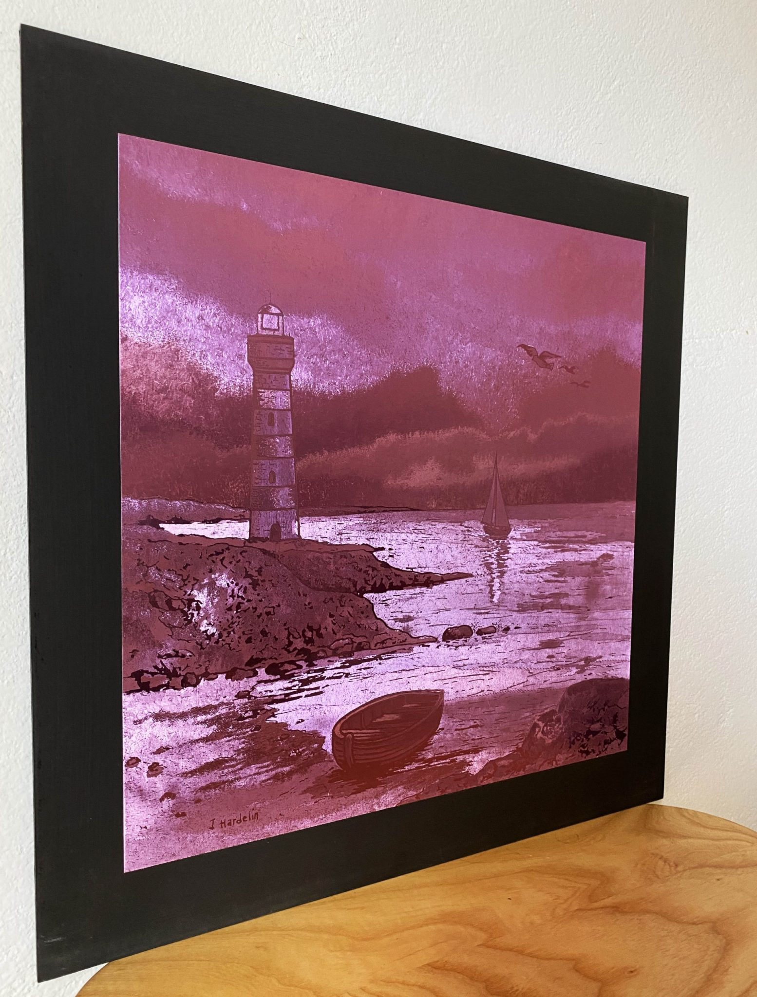 lighthouse-pink-40-x-40-gravure-foil-art-etching